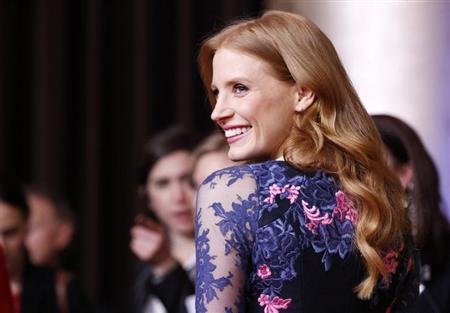 Jessica Chastain, nominated for best actress for her role in ''Zero Dark Thirty'', arrives at the 85th Academy Awards nominees luncheon in Beverly Hills, California February 4, 2013. REUTERS/Mario Anzuoni