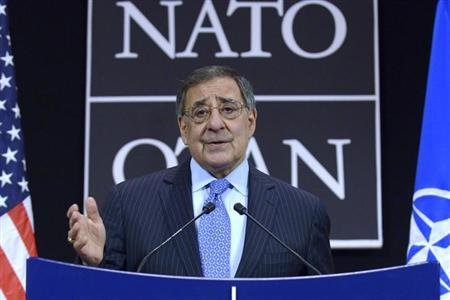 U.S.' Secretary of Defense Leon Panetta addresses a news conference during a NATO defence ministers meeting at the Alliance headquarters in Brussels February 22, 2013. REUTERS/Eric Vidal