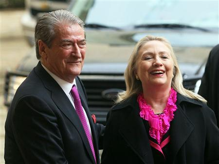U.S. Secretary of State Hillary Clinton (R) speaks with Albanian Prime Minister Sali Berisha during her official visit in Tirana November 1, 2012. REUTERS/Arben Celi