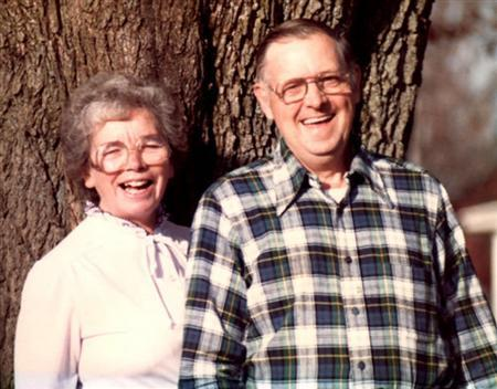 Gwen and Norman Hendrickson pose for a photograph in their backyard in Cambridge, New York, in this undated family handout photo. REUTERS/Norma Hendrickson/Handout
