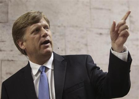 Michael McFaul, U.S. Ambassador to the Russian Federation, gestures during his speech at the New Economic School in Moscow June 7, 2012. REUTERS/Sergei Karpukhin