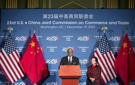 U.S. Trade Representative Ron Kirk and Acting Secretary of Commerce Rebecca Blank speak at a news conference during the 23rd session of the U.S.-China Joint Commission on Commerce and Trade in Washington December 19, 2012. REUTERS/Joshua Roberts