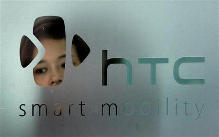 The logo of HTC is seen in Taipei September 24, 2008. The new G1 phone made by Taiwan's HTC Corp running Google's Android software was launched in New York on Tuesday. REUTERS/Pichi Chuang