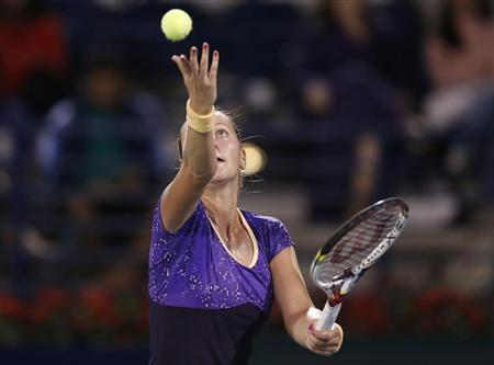 Petra Kvitova of the Czech Republic serves to Caroline Wozniacki of Denmark during their women's singles semi-final match at the WTA Dubai Tennis Championships, February 22, 2013. REUTERS/Ahmed Jadallah