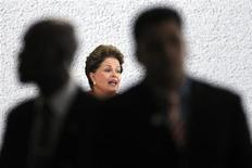 Brazil's President Dilma Rousseff speaks during the signing ceremony of the National Commitment to Improvement of Working Conditions in the Construction Industry at the planalto palace in Brasilia March 1, 2012. REUTERS/Ueslei Marcelino