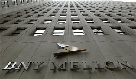 A BNY Mellon sign is seen on their headquarters in New York's financial district, January 19, 2011. REUTERS/Brendan McDermid (UNITED STATES - Tags: BUSINESS) - RTXWSD8