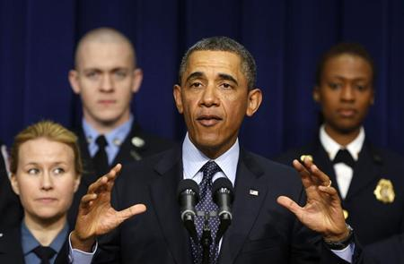 U.S. President Barack Obama speaks against automatic budget cuts scheduled to take effect next week, while in the South Court Auditorium in the Eisenhower Executive Office Building in the White House complex in Washington February 19, 2013. REUTERS/Larry Downing