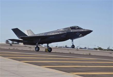 A U.S. Marine Corps F-35B lands at the Marine Corps Air Station in Yuma, Arizona in this handout photo taken November 20, 2012. REUTERS/U.S. Marine Corps/DVIDS/Cpl. Shelby Shields/Handout