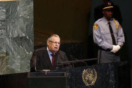 Iraq's President Jalal Talabani addresses the 66th session of the United Nations General Assembly at the U.N. headquarters in New York September 23, 2011. REUTERS/Jessica Rinaldi