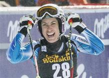 Carolina Ruiz Castillo of Spain reacts after winning the Women's World Cup Downhill skiing race in Meribel, in the French Alps, February 23, 2013. REUTERS/Robert Pratta