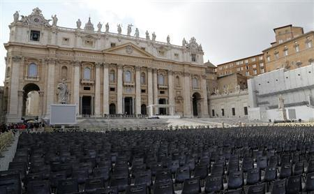 Chairs are seen in front of St.Peter's Basilica at the Vatican February 21, 2013. REUTERS/Stefano Rellandini