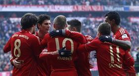 Le Bayern Munich, leader de la Bundesliga, a signé samedi à domicile une écrasante victoire 6-1 contre le Werder Brême, le septième succès en autant de matches pour les Bavarois depuis le début de l'année 2013, toutes compétitions confondues. /Photo prise le 23 février 2013/REUTERS/Michaela Rehle