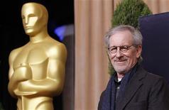 """Steven Spielberg, nominé aux Oscars pour son biopic """"Lincoln"""". L'Histoire est omniprésente dans quatre des principaux films qui seront en lice dimanche pour la 85e édition de la cérémonie des Oscars. /Photo prise le 4 février 2013/REUTERS/Mario Anzuoni"""
