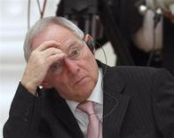 German Finance Minister Wolfgang Schaeuble reacts during a meeting of G20 representatives with Russian President Vladimir Putin in the Kremlin February 15, 2013. REUTERS/Maxim Shemetov