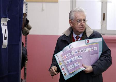 Outgoing Prime Minister Mario Monti holds his election ballot before casting his vote at the polling station in Milan, February 24, 2013. REUTERS/Stefano Rellandini