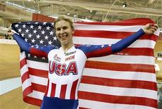 USA's Sarah Hammer reacts as she wins the gold medal during women's omnium time trial final at the 2013 UCI Track Cycling World Championships in Minsk, February 24, 2013. REUTERS/Vasily Fedosenko