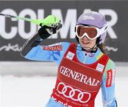 Tina Maze of Slovenia celebrates after winning the Women's World Cup Super Combined skiing race in Meribel, French Alps, February 24, 2013. REUTERS/Robert Pratta
