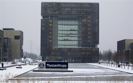 The headquarters of Germany's industrial conglomerate ThyssenKrupp AG are pictured in Essen January 16, 2013. ThyssenKrupp, Germany's biggest steelmaker, warned that it saw no global economic recovery this year after a slump in steel prices and weak car markets caused a 38 percent drop in its quarterly core profit. Picture taken January 16, 2013. REUTERS/Ina Fassbender (GERMANY - Tags: BUSINESS INDUSTRIAL)