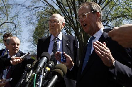 Fiscal Commission co-chairs Alan Simpson (C) and Erskine Bowles (R) speak to reporters after their meeting with U.S. President Barack Obama at the White House in Washington April 14, 2011. REUTERS/Kevin Lamarque