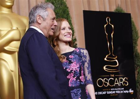 Academy of Motion Pictures Arts and Sciences president Hawk Koch and actress Jessica Chastain, nominated for best actress for her role in ''Zero Dark Thirty'' pose at the 85th Academy Awards nominees luncheon in Beverly Hills, California February 4, 2013. REUTERS/Mario Anzuoni