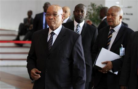 South Africa's President Jacob Zuma arrives for the signing ceremony of the Peace, Security and Cooperation Framework for the Democratic Republic of Congo and the Great Lakes, at the African Union headquarters in Ethiopia's capital Addis Ababa Feburary 24, 2013. A U.N .-mediated peace deal aimed at ending two decades of conflict in the east of the Democratic Republic of Congo was signed on Sunday by leaders of Africa's Great Lakes region in the Ethiopian capital Addis Ababa. REUTERS/Tiksa Negeri