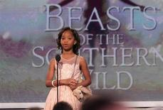 "Actress Quvenzhane Wallis, nominated for best female lead for the film ""Beasts of the Southern Wild,"" introduces a clip from the film at the 2013 Film Independent Spirit Awards in Santa Monica, California February 23, 2013. REUTERS/David McNew"