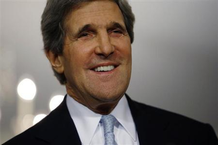 Secretary of State John Kerry smiles following his meeting with Canada's Foreign Minister John Baird (not pictured) at the State Department in Washington, February 8, 2013. REUTERS/Jason Reed