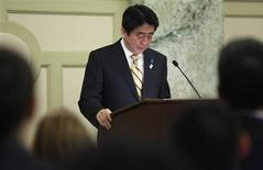 Japan's Prime Minister Shinzo Abe pauses during remarks at a reception with Japan-US Cultural Exchange Representatives in Washington, February 22, 2013. REUTERS/Jonathan Ernst