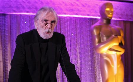 Director Michael Haneke of the Austrian film ''Amour'' speaks at the Oscars Foreign Language Film Award Directors Reception at the Academy of Motion Picture Arts and Sciences in Beverly Hills, California February 22, 2013. REUTERS/Mario