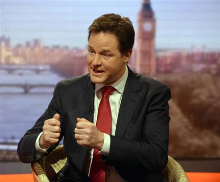 Britain's Deputy Prime Minister Nick Clegg speaks on the BBC's Andrew Marr Show, in this photograph provided by the BBC, in London January 27, 2013.REUTERS/Jeff Overs/BBC/Handout