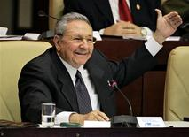"Cuba's President Raul Castro speaks at the closing session of the National Assembly of the Peoples Power in Havana February 24, 2013. Castro announced on Sunday he would step down from power after his second term as president ends in 2018, and the new parliament named a 52-year-old rising star to become his first vice president and most visible successor. Castro, 81, made the announcement in a nationally broadcast speech shortly after the Cuban National Assembly elected him to a second five-year term in the opening session of the new parliament. ""This will be my last term,"" Castro said. REUTERS/Desmond Boylan"