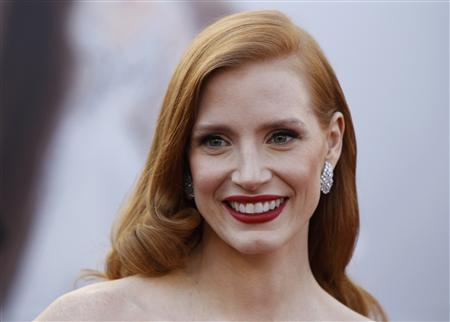 Jessica Chastain, actress in a leading role nominee for the film ''Zero Dark Thirty'' arrives at the 85th Academy Awards in Hollywood, California February 24, 2013. REUTERS/Lucas Jackson