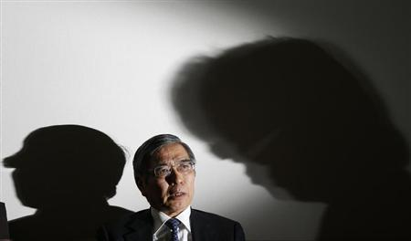 Asian Development Bank President Haruhiko Kuroda speaks during a group interview in Tokyo February 11, 2013. Kuroda said two years was an appropriate timeframe for the Bank of Japan to meet its new inflation goal, but declined to comment on whether he was in the running to take over at the central bank next month. REUTERS/Toru Hanai (JAPAN - Tags: BUSINESS)
