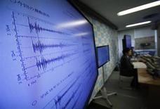 Una immagine della divisione terremoti e tsunami dell'Agenzia metereologica giapponese durante una conferenza stampa. Tokyo, 12 febbraio, 2013. REUTERS/Toru Hanai