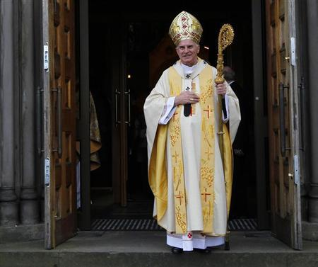 The leader of the Roman Catholic Church in Scotland Cardinal Keith O'Brien is seen leaving after his Easter Sunday homily at St Mary's Cathedral in Edinburgh, Scotland in this April 4, 2010 file photograph. REUTERS/David Moir/Files