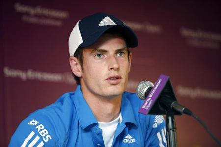 England's Andy Murray, speaks at a news conference at the Sony Ericsson Open tennis tournament in Key Biscayne, Florida March 24, 2010. REUTERS/Andrew Innerarity