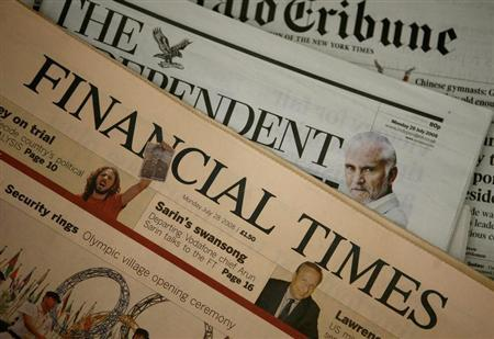 A copy of a Financial Times newspaper is displayed for sale in a newsagent in central London July 28, 2008. REUTERS/Alessia Pierdomenico