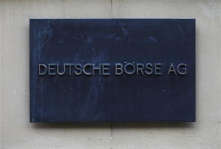 The plaque of the Deutsche Boerse AG is pictured at the entrance of the Frankfurt stock exchange February 1, 2012. REUTERS/Alex Domanski