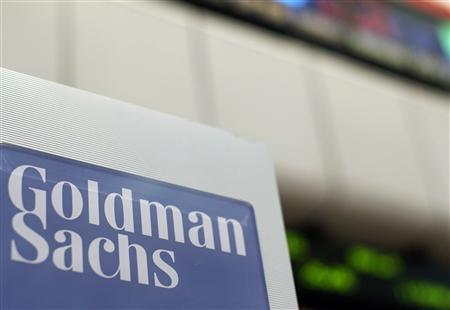 A Goldman Sachs sign is seen on the floor of the New York Stock Exchange in this April 16, 2012 file photo. REUTERS/Brendan McDermid/Files