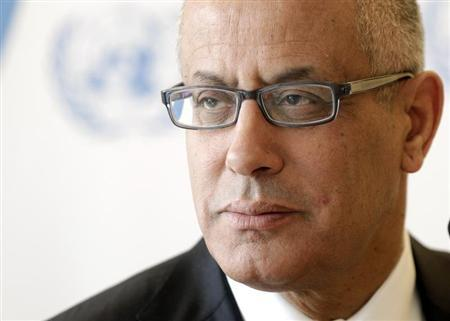 Ali Zeidan, Prime Minister of Libya pauses after his address to the 22nd session of the Human Rights Council at the United Nations in Geneva February 25, 2013. REUTERS/Denis Balibouse