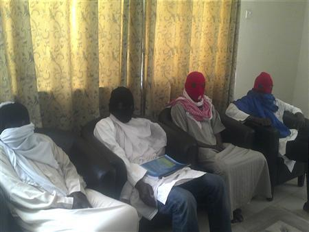 Members of the Boko Haram splinter group attend a media conference in Maiduguri, Borno State of Northern Nigeria February 23, 2013. REUTERS/Stringer
