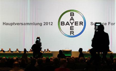A general view shows the annual general meeting of Bayer AG in Cologne April 27, 2012. Bayer's Chief Executive Marijn Dekkers reiterated the group is looking in the healthcare and crop science industries for any takeover targets. REUTERS/Ina Fassbender