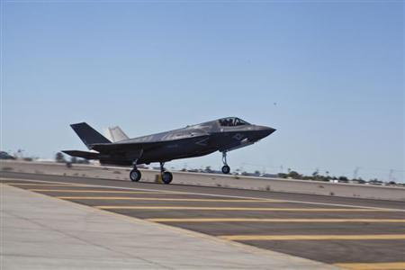Yuma's second F-35B, BF-20, arrives at Marine Corps Air Station Yuma's flightline following the re-designation ceremony for Marine Fighter Attack Squadron 121, in Yuma, Arizona, in this U.S. Marine Corps handout photo taken November 20, 2012. REUTERS/U.S. Marine Corps/DVIDS/Cpl. Shelby Shields/Handout