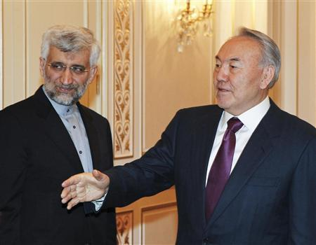 Kazakhstan's President Nursultan Nazarbayev (R) meets with Iran's Supreme National Security Council Secretary and chief nuclear negotiator Saeed Jalili in Almaty February 25, 2013. REUTERS/Shamil Zhumatov