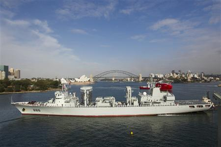 The Qiandaohu, one of the type-903 replenishment ships now in service with the Chinese navy, sails into Sydney harbour in this December 17, 2012 file handout photo provided by the Royal Australian Navy. REUTERS/ABIS/Chantell Bianchi/Royal Australian Navy/Handout