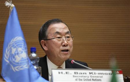 U.N. Secretary General Ban Ki-moon addresses participants during the signing ceremony of the Peace, Security and Cooperation Framework for the Democratic Republic of Congo and the Great Lakes, at the African Union headquarters in Ethiopia's capital Addis Ababa Feburary 24, 2013. REUTERS/Tiksa Negeri