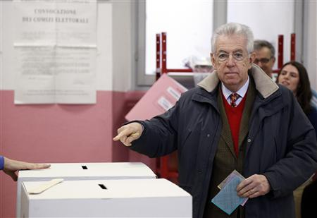 Outgoing Prime Minister Mario Monti gestures before casting his vote at the polling station in Milan, February 24, 2013. REUTERS/Stefano Rellandini