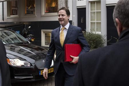 Britain's Deputy Prime Minister Nick Clegg arrives at a meeting for European Liberal politicians in Amsterdam February 25, 2013. REUTERS/ Bart Maat
