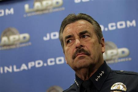 LAPD Police Chief Charlie Beck looks on during a news conference at the LAPD Headquarters in Los Angeles, California, February 10, 2013. REUTERS/Patrick Fallon