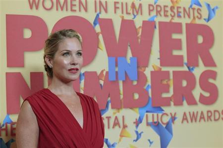 Actress Christina Applegate poses at the Women In Film Los Angeles 2012 Crystal and Lucy Awards themed ''Power In Numbers'' in Beverly Hills, California June 12, 2012. REUTERS/Mario Anzuoni